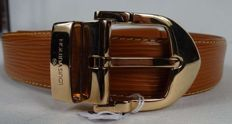 Louis Vuitton tawny leather belt, 90 cm, with golden buckle (new)