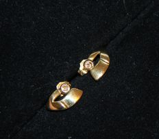 Yellow gold earrings 18 kt with diamonds