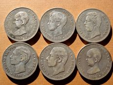 Spain - Set of 6 silver coins of 5 pesetas each - Amadeo I (1871*71); Alfonso XII (1881 and 1885*85) and Alfonso XIII (1888, 1890 and 1898). (6)