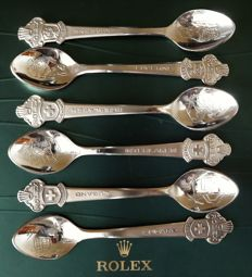 Six Rolex teaspoons - from Bucherer from three Swiss cities