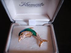 Vintage 1970s - USA - 18k rolled Gold coated Dolphine Brooch - Hallmarked Krementz - in original Box