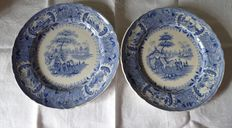 Two earthenware plates marked David Johnston and cie representing bivouacs