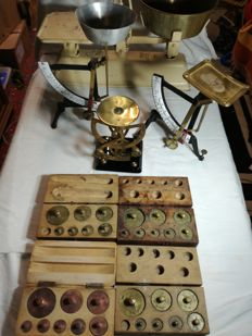 Old kitchen scales, letter scale or gold scale, weight sets
