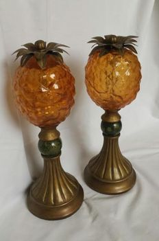 Two composite table pieces in the shape of a pineapple, second half of 20th century, France,