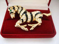 Vintage 1970s - USA - Gold plated Enameled Zebra Brooch - Hallmarked Erwin Pearl Copyright