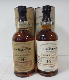 2 bottles - The Balvenie 14 years old Caribbean Cask & The Balvenie 16 years old Triple Cask