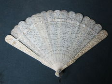 An antique ivory Cantonese fan - China - 1900