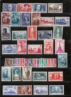 France 1935/1939 - Almost complete selection between Yvert numbers 301 and 450 - With Victory of Samothrace and complete series.