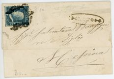 Sicily, 1859 – 1 Grana (cancelled) – 2 Grani (on letter)