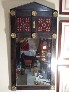 Antique Rare Chapel Mirror In Carved Wood and Brass rosaceas and Red Detailing - Sintra, Portugal - end XIXth Century