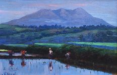 Leo Eland (1884-1952) - rice fields and Mount Salak in the background,