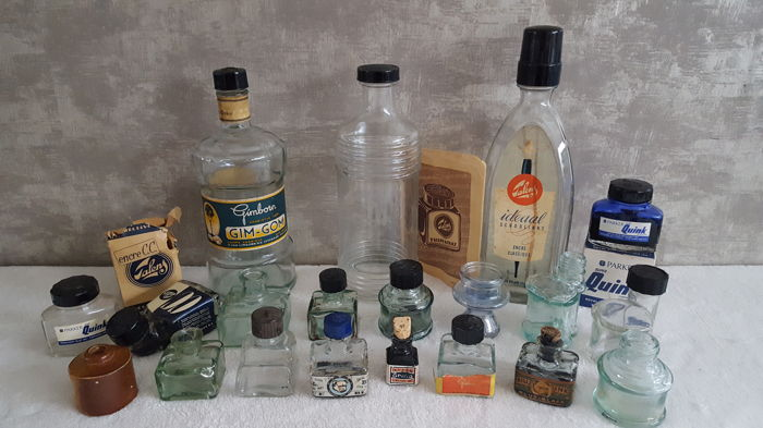 Collection of old ink jars 21 items