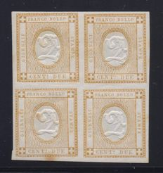 Kingdom of Italy - 1862, group of four 2 cent. bistro