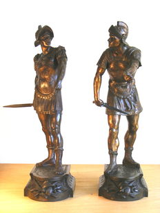 A pair of large spelter figures of Roman Warriors - end of 19th century