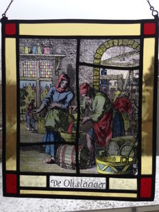 "Lovely, old stained glass sun catcher with pieces of mosaic ""The oil crusher"" - 20th century"