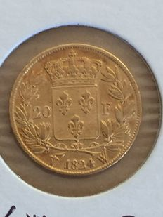 France – 20 Francs 'Louis XVIII' 1824 W Lille – Gold