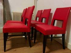 G. Soressi voor Costantini Pietro - 'Blues Chair' set of 5 red leather chairs
