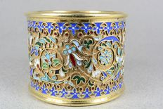 Silver napkin ring; silver gilt and cloisonné enamel, Russia, 19th century