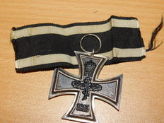 Original Iron Cross, 2nd class with part of the strap and manufacturer's hallmark, WWI
