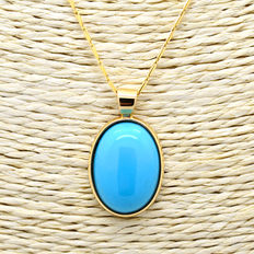 18 kt gold pendant necklace with turquoise.