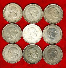 Spain - Set of 9 silver coins of 100 pesetas. Spain – Francisco Franco, Spanish dictator from 1939-1975 – 1966 – Madrid. (9)