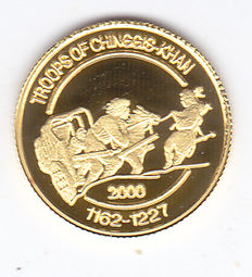 "Mongolia - 500 Togrog 2000 ""Troops of Chinggis Khan 1162 - 1227"" - Gold"
