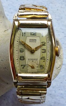 ANKER Art Deco 15 jewels -- wristwatch from the 1940s