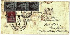 Tuscany 1851 – strip of three 9 crazias, Sassone no. 8b And 1 crazia, Sassone no. 4 On a letter from Florence for New Ark