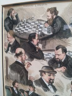 Engraving - Sketches at the International Chess Tournament (Corbould, Henry 1883)