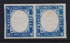 Kingdom of Italy – 1863, 15 cents. Pair, of which one is without effigy.