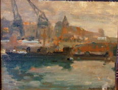 "Maurice Paul (Belgian School 1889-1965) -""Péniches et grues en Anvers"" or ships and cranes in Antwerp"