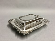 Silver plated double serving tray with two handles, England, ca. 1955
