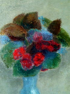 Kees Andrea (1914-2006) - still life with flowers in a blue vase