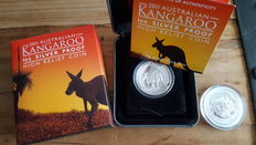 "Australia – 50 cents 2012 ""Year of the Dragon"" + 1 dollar 2011 ""Kangaroo"" ½ and 1 oz silver."