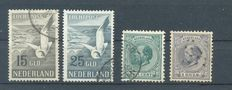 The Netherlands 1888/1951 – King Willem III and air mail seagulls – NVPH 25, 28 + LP12/LP13