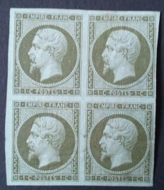 France 1860 - Napoleon III not serrated, 1 c. olive, block of 4, signed Roumet - Yvert #11
