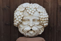 Bacchus mask from a 19th century marble fountain - Italy