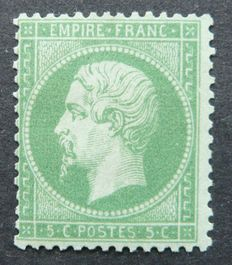 France 1862 – 5c green – Napoleon III – Signed Calves with digital certificate – Yvert No. 20