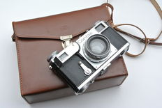 Contax II with collapsible Sonnar 2/50 and Zeiss Ikon case