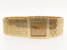"""Boucheron """"Le Carré"""" ladder watch in 18 kt gold. Excellent condition, very rare, towards 1970. Gold index and hands."""