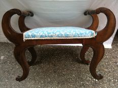 Large walnut bench - late Regency period - continental - ca. 1840