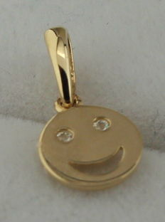 14 kt gold pendant smiley