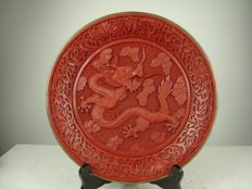 Cinnabar lacquer dish with dragon - China - second half of the 20th century
