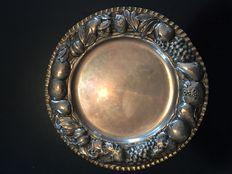 Silver tray with embossed decorations, Italy, 1930-50