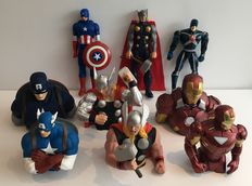 Marvel - 9 figurines - including 3x Thor + 3x Captain America + 2x Iron Man - (1995 / 2013)