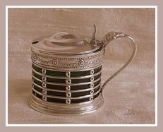 Silver pierced mustard pot w/ green glass liner, Martin & Hall, Birmingham, 1911