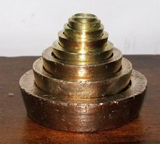 Set of Irish/English postal scales weights - bronze and brass - Calibrated - ca. 1830