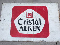 beautiful large Alken Cristal double-sided metal sign