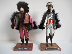 Two handmade models of French Napoleontic figures – H. 26 cm.