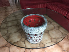 Unknown designer - Massive Fat Lava style glass and ceramic coffee table